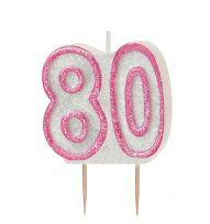 Pink Glitz Birthday Cake Candle - 80